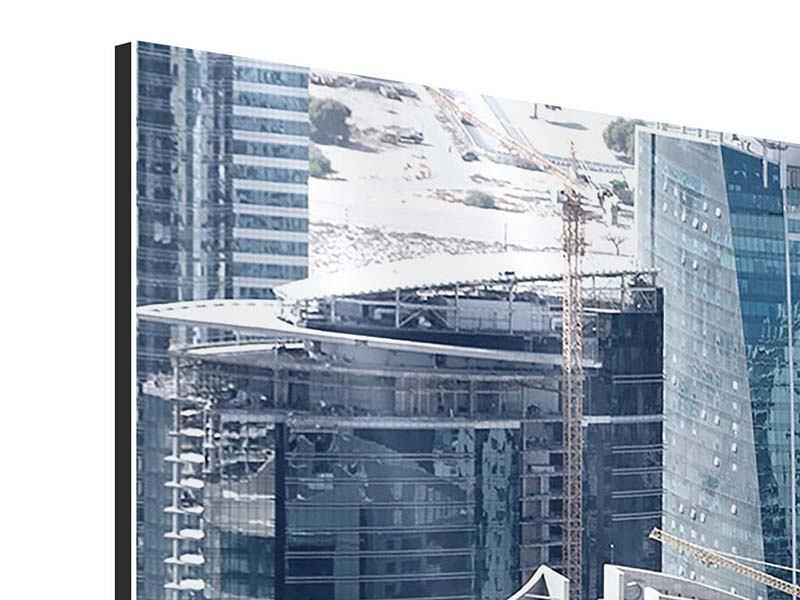 Aluminiumbild Panorama Die Wolkenkratzer von Dubai
