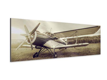 Aluminiumbild Panorama Nostalgisches Flugzeug im Retrostyle