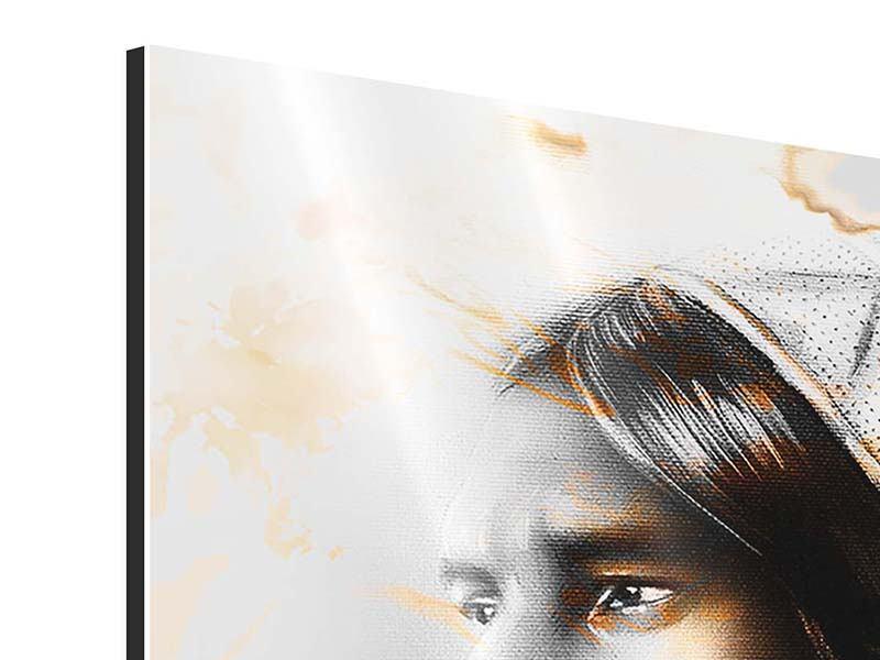 Aluminiumbild Panorama Kunstvolles Indianer-Portrait
