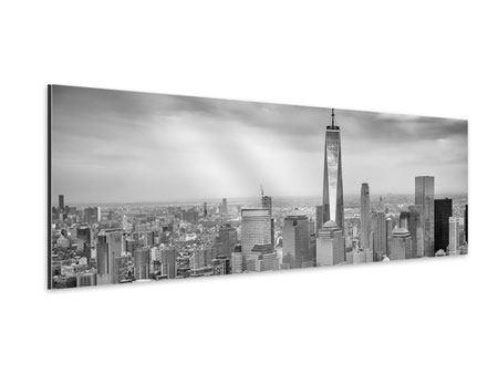 Aluminiumbild Panorama Skyline Schwarzweissfotografie New York