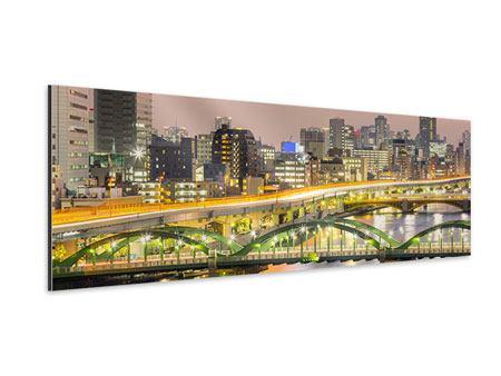 Aluminiumbild Panorama Skyline Das Lichtermeer von Tokio
