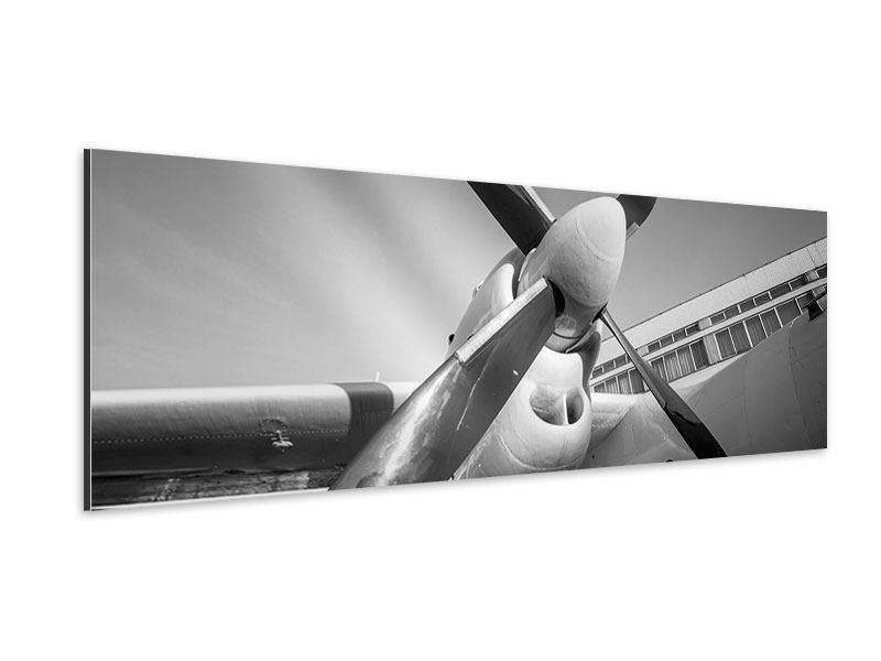 Aluminiumbild Panorama Nostalgisches Flugzeug