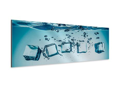 Aluminiumbild Panorama Eiswürfel-Quadro