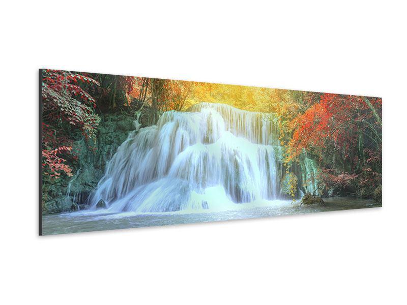Aluminiumbild Panorama Wasserfall im Licht
