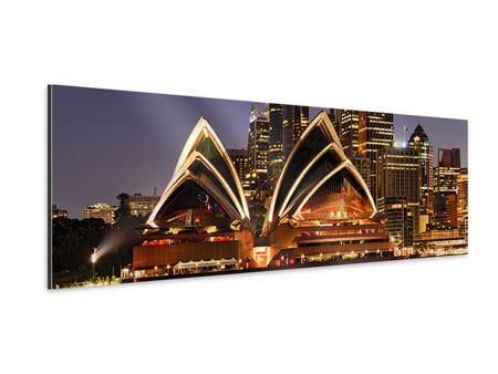 Aluminiumbild Panorama Skyline Mit dem Boot vor Sydney