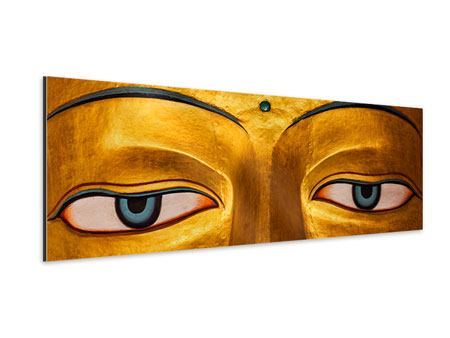 Aluminiumbild Panorama Die Augen eines Buddhas