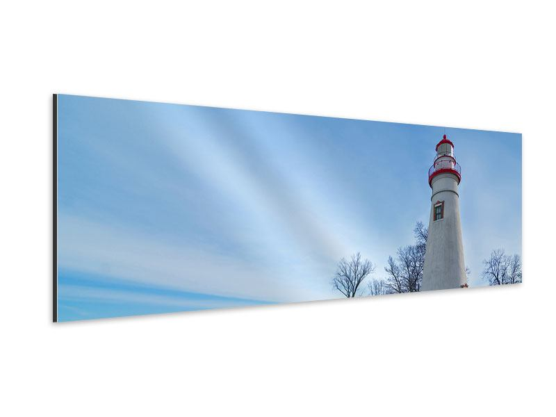Aluminiumbild Panorama Leuchtturm im Schnee