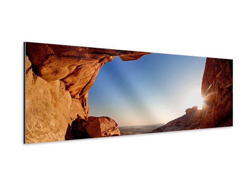 Aluminiumbild Panorama Sonnenuntergang vor der Höhle