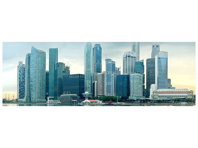 Aluminiumbild Panorama Skyline Sonnenaufgang in Singapur