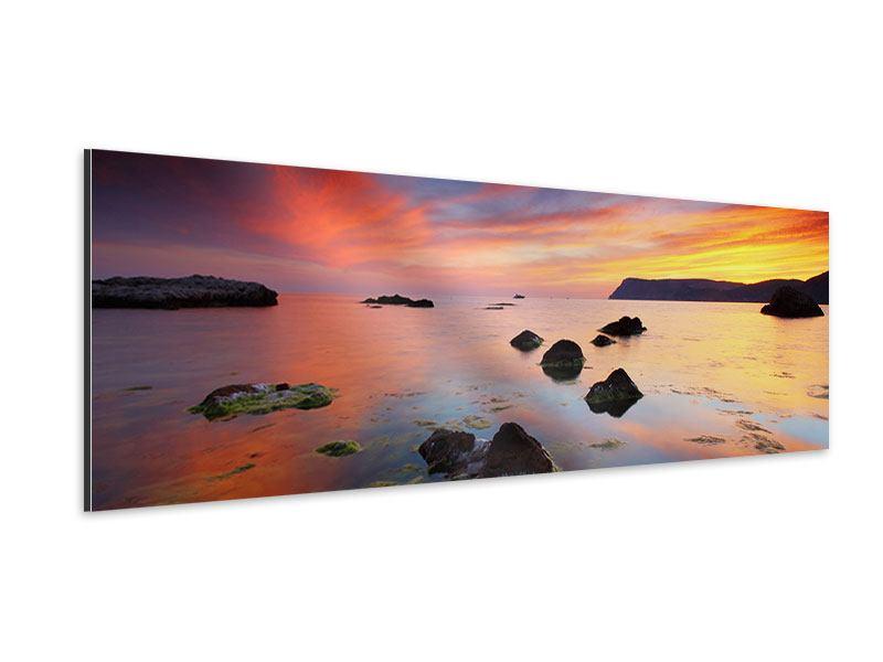 Aluminiumbild Panorama Ein Sonnenuntergang am Meer