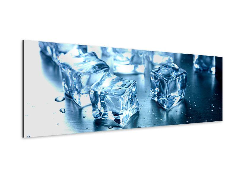 Aluminiumbild Panorama Viele Eiswürfel