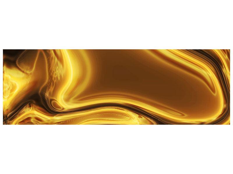 Aluminiumbild Panorama Abstrakt Flüssiges Gold