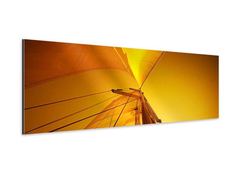 Aluminiumbild Panorama Segelboot im Sonnenuntergang