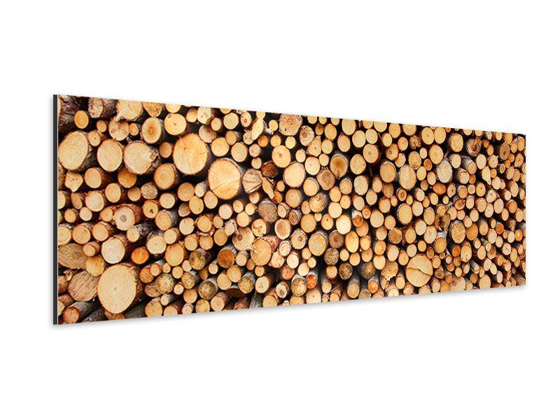 Aluminiumbild Panorama Holzstämme