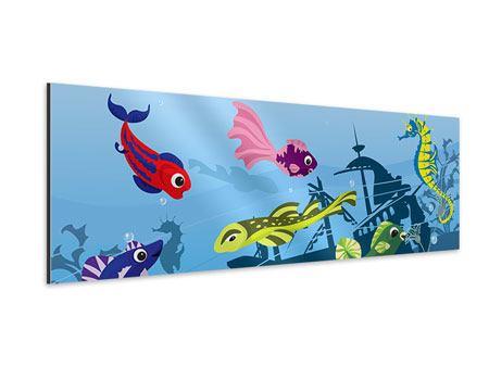 Aluminiumbild Panorama Fische im Wasser