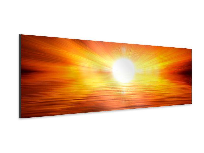 Aluminiumbild Panorama Glühender Sonnenuntergang