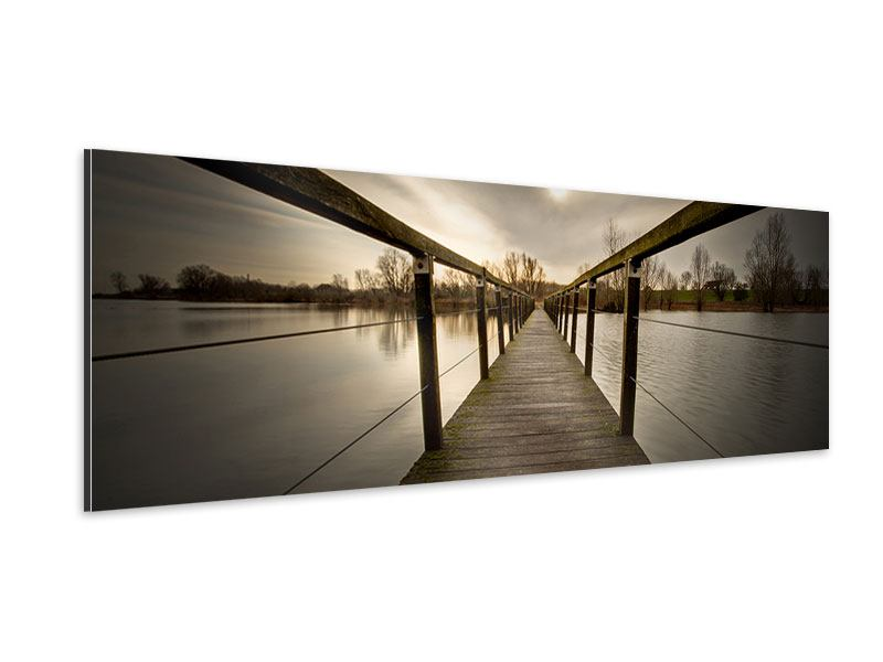 Aluminiumbild Panorama Die Holzbrücke