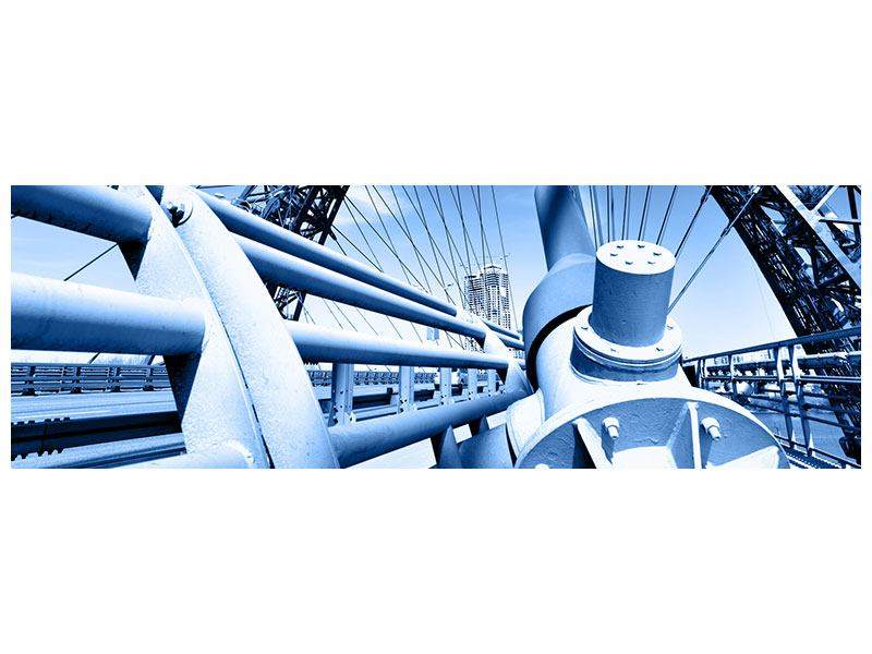 Aluminiumbild Panorama Avantgardistische Hängebrücke