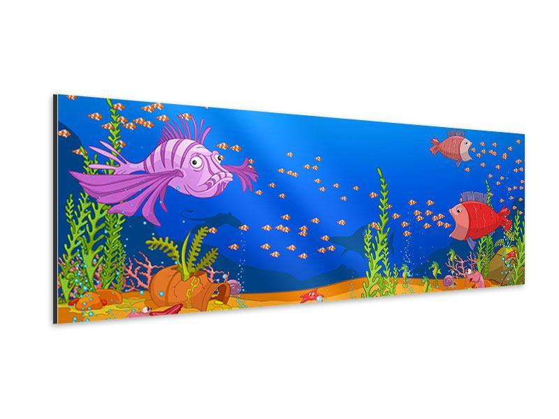 Aluminiumbild Panorama Der Schatz unter Wasser