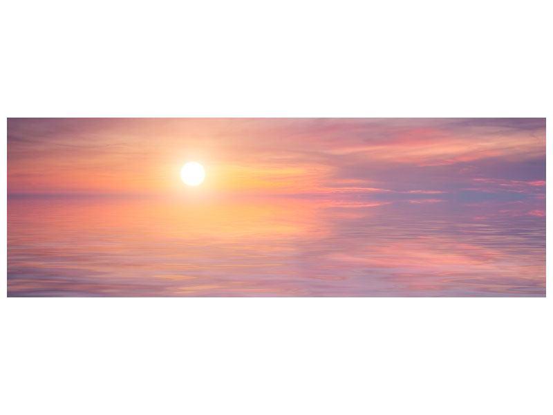 Aluminiumbild Panorama Sonnenuntergang auf See