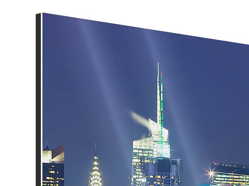 Aluminiumbild Panorama Skyline New York Midtown bei Nacht