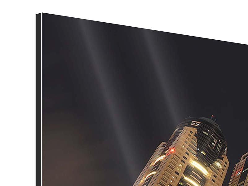 Aluminiumbild Panorama Wolkenkratzer Dubai Marina