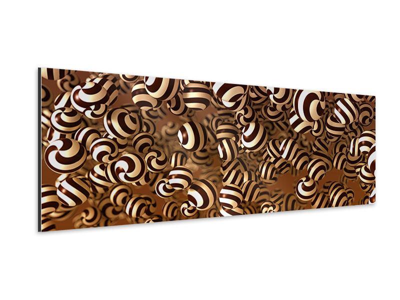 Aluminiumbild Panorama Schokoladen-Bonbons