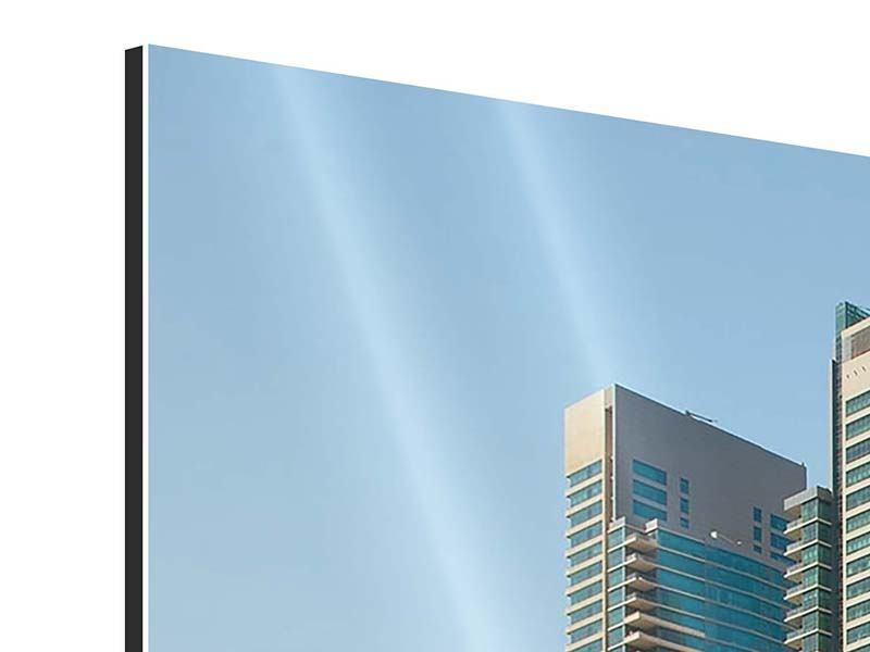 Aluminiumbild Panorama Spektakuläre Wolkenkratzer Dubai