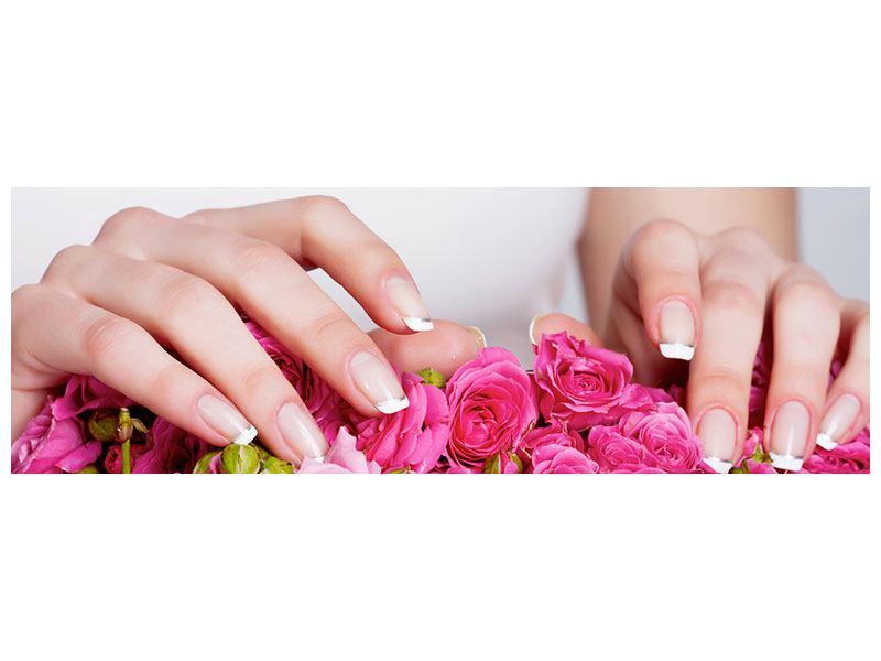 Aluminiumbild Panorama Hände auf Rosen gebettet