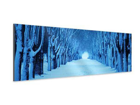 Aluminiumbild Panorama Winterbäume