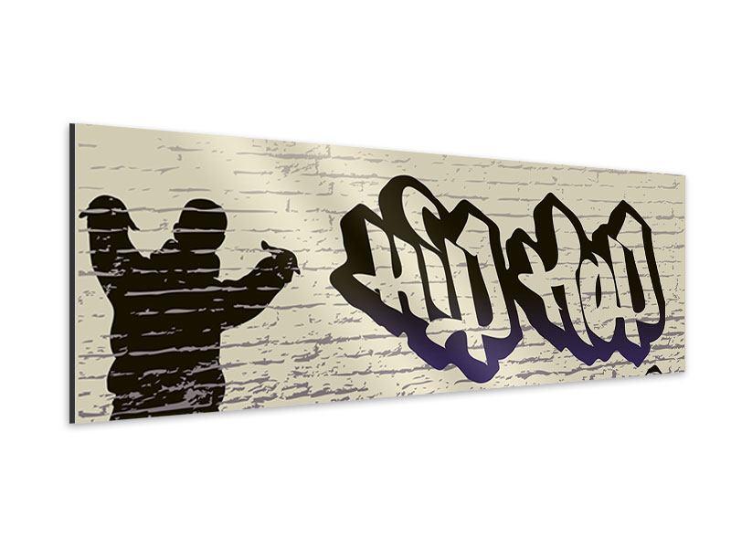 Aluminiumbild Panorama Graffiti Hip Hop