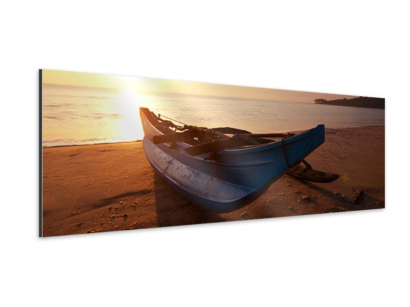 Aluminiumbild Panorama Das gestrandete Boot