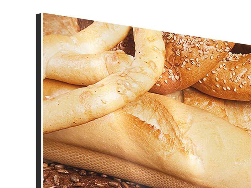 Aluminiumbild Panorama Brot und Bretzel