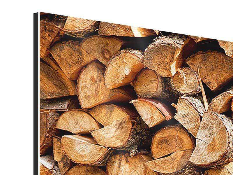 Aluminiumbild Panorama Gestapeltes Holz