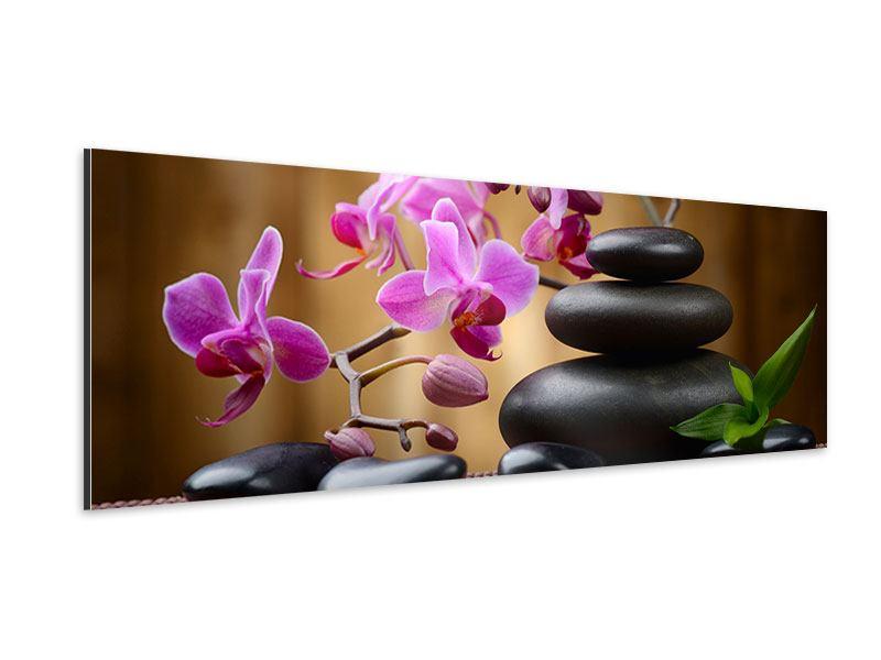 Aluminiumbild Panorama Wellness-Steine