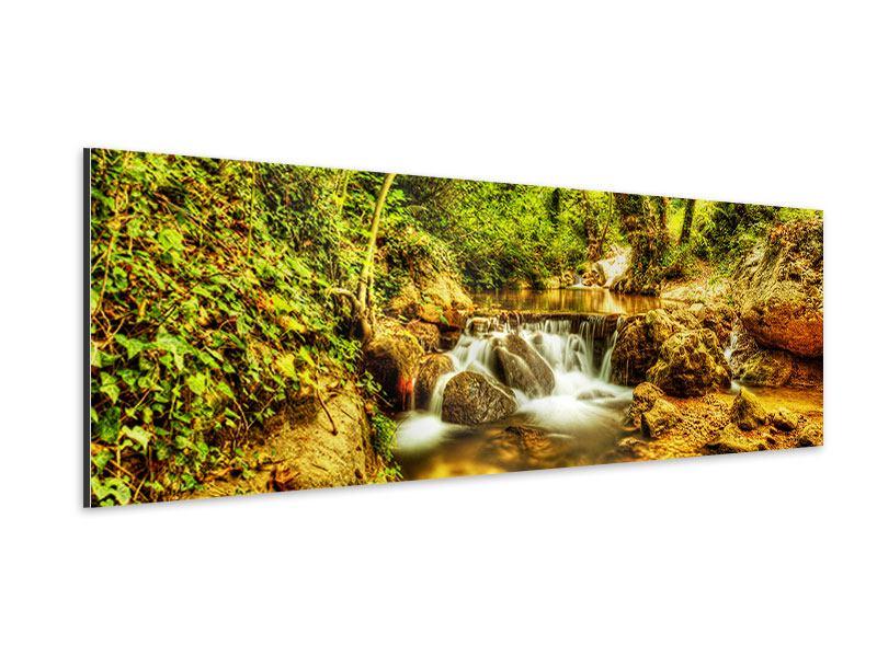 Aluminiumbild Panorama Wasserfall im Wald