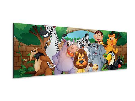 Aluminiumbild Panorama Der lustige Zoo