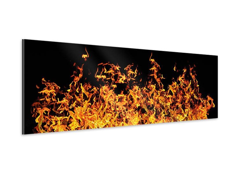 Aluminiumbild Panorama Moderne Feuerwand