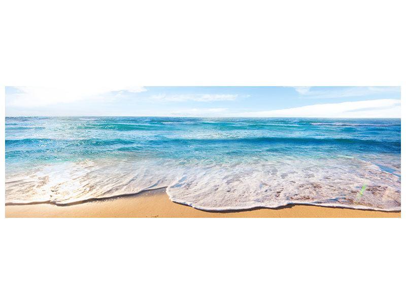 Aluminiumbild Panorama Spuren im Sand
