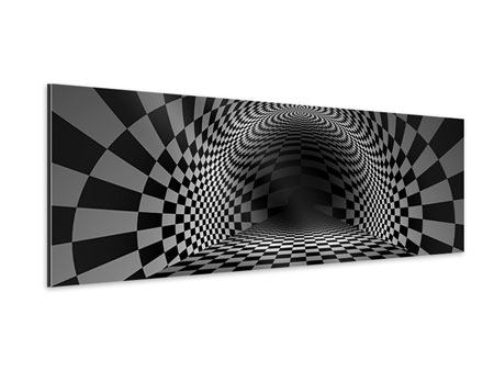 Panoramic Aluminium Print Abstract Chessboard