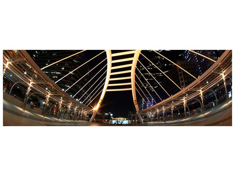 Aluminiumbild Panorama Avantgardistische Brücke