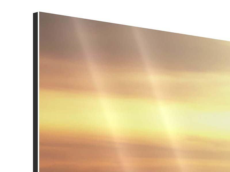 Aluminiumbild Panorama Sonnenuntergang an der See
