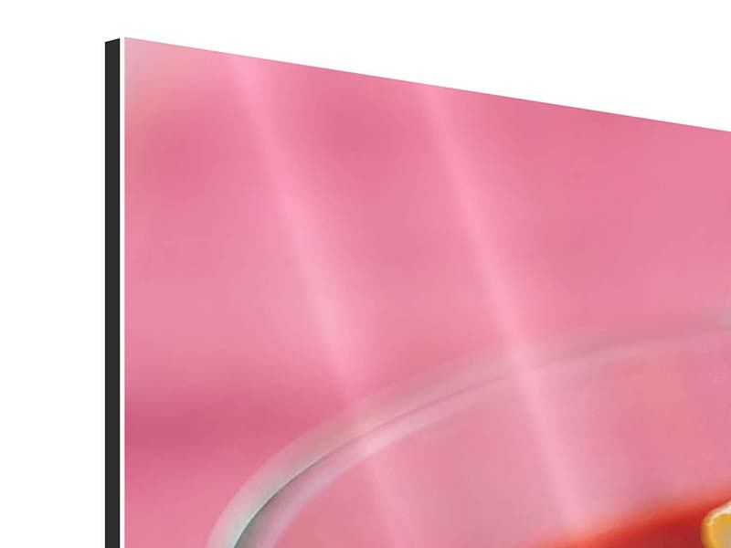 Aluminiumbild Panorama Himbeercocktail