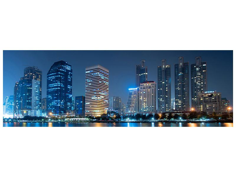 Aluminiumbild Panorama Skyline Bangkok bei Nacht