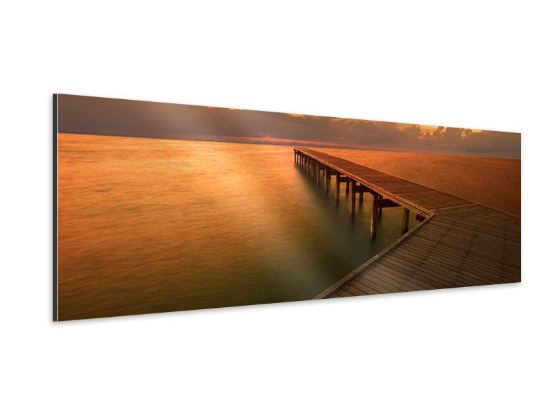 Aluminiumbild Panorama Der Steg am Meer