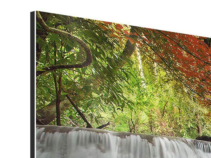 Aluminiumbild Panorama Erawan Wasserfall