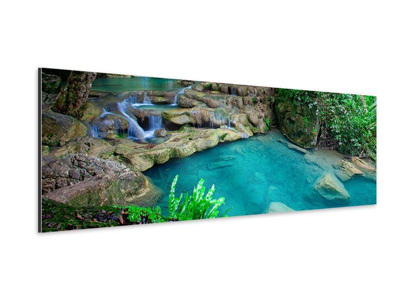 Aluminiumbild Panorama Am Fusse von Erawan