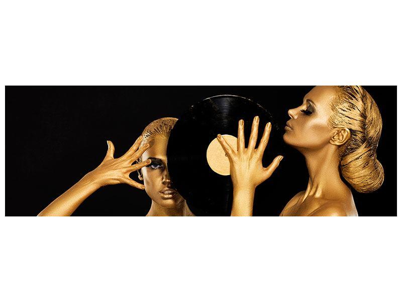 Aluminiumbild Panorama Gold-DJ`s