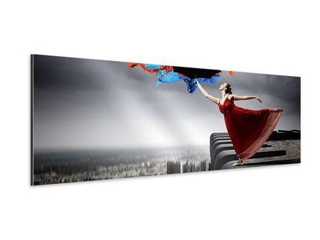 Aluminiumbild Panorama Tanz auf dem Wolkenkratzer