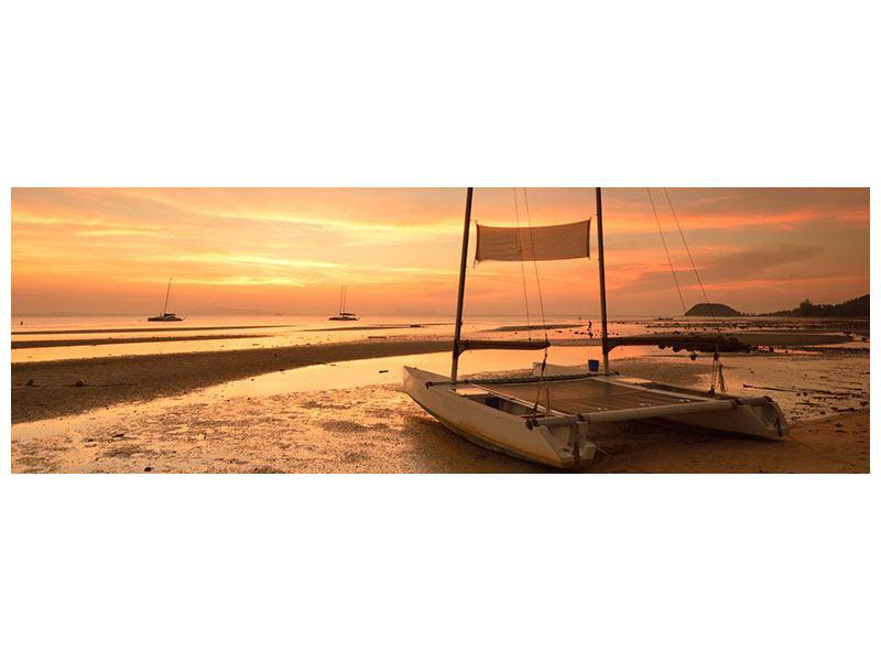 Aluminiumbild Panorama Sonnenuntergang am Strand